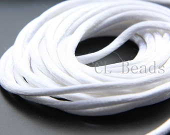 20 Meters of Round Rattail Cord - White 2mm