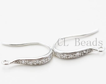 One Pair of  S925 Sterling Silver Clear Cubic Zirconia Earring Hooks - 15x11mm (796)