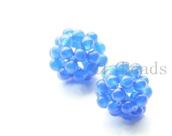 2pcs Beaded Blue Stone Balls-17mm