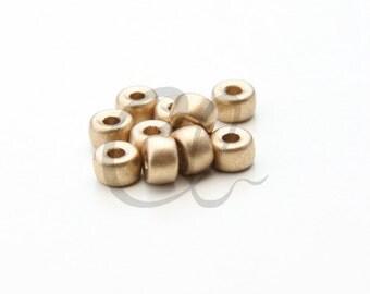 50pcs Czech Press Glass Mini Crow Beads - Gold Metallic 6mm (PG29871)