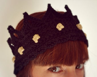Made in Italy - Royal crown, wool crochet headband with gold gemstones, ear warmer for queen, king, prince and princess - Made to order
