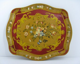 Wonderful Vintage Boho Tray---Red and Gold Wood Composite