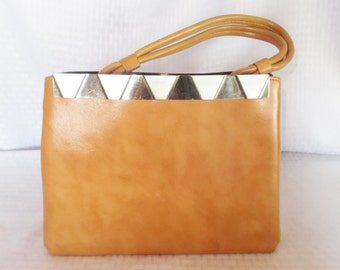 Clearance 60's 70's Vintage Tan Leather? Purse Hand Bag with Art Deco Metal Trim
