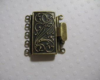 Vintage Look Plated Brass 23mmx17mm Clasp - 5 strand -  1 Clasp - nickel free, lead free