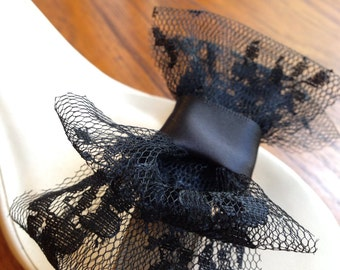 Black Lace Bow Shoe Clips Set Of Two