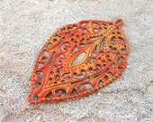 Leaf filigree, large metal shield filigree FIRE yellow and orange hand painted jewelry finding focal 2 pcs