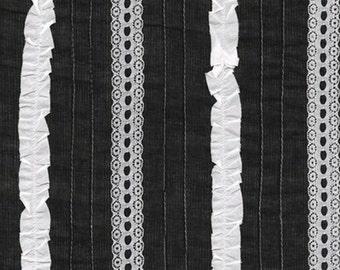One (1) Yard -Rick Rack and Ribbons Deluxe Pin Tuck Ruffle lace Fabric Robert Kaufman ZUD-13610-2 BLACK