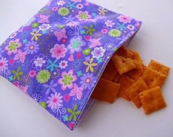 Flowers and Butterflies Reusable Snack Bag
