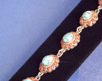 FREE SHIPPING - Beautiful Turquoise and Coral Sterling Bracelet