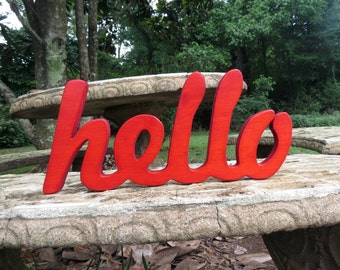 wooden hello wall hanging sign home decor solid color or lightly distressed