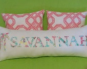 New NAME pillow 7-9 letters made with Lilly Pulitzer Palm Tree, Anchor, Seahorse and Your choice of over 65 different fabrics