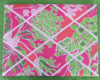 New memo board made with Lilly Pulitzer 2014 Luscious Daiquiri Pink fabric