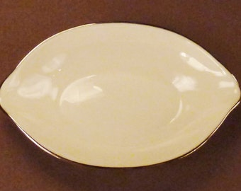 Antique LENOX Butter pat Lusterware Oval  Gilt  edges Signed  white 4 3/8 x 2 3/4 x 3/4 in tall
