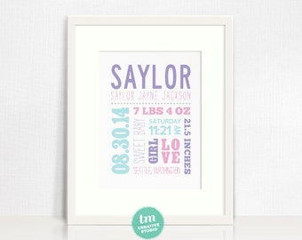 Mixed Typography Custom Birth Announcement // Nursery Print // Modern Birth Stat Poster // You can Customize