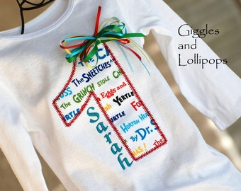 Girls personalized 1st birthday shirt bodysuit Dr Suess birthday