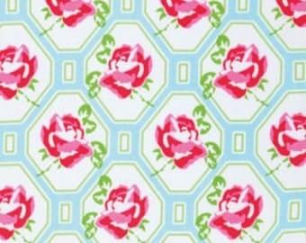 Sugar Hill by Tanya Whelan Rose Trellis Blue Cotton Fabric 1 yard