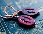 Dangle Earrings, Red Earrings, Glass Earrings, Drop Earrings, Copper Earrings, Burgundy Red, Dark Red, Vintage Glass, Czech Glass, PoleStar