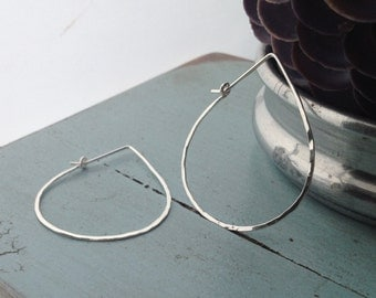 Silver Teardrop Hoop - Large (H01SS-L) Hammered, Sterling Silver - wire jewelry by cristysjewelry on etsy