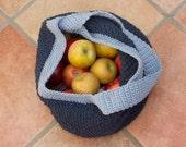 Market Tote Bag, Navy Blue  Cotton Market Bag, Market Tote Bag,  Hand Crocheted,  Book Bag,  Gift for Mom