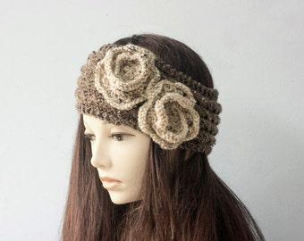 Flower Ear Warmers, Custom, Chose Colors, Hand Knit Headband, Knitted Turban,  Head Wrap, Winter Head Warmer, Pony Tail Hat
