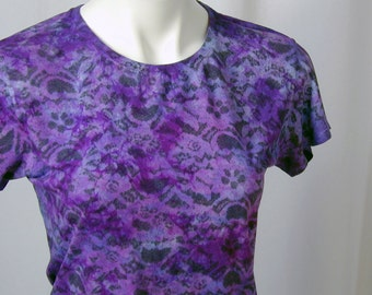 English Garden in Orchid, Periwinkle, and Black Atomic Lace Bamboo Tee (medium)