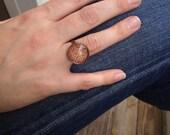 Orange Diamond - adjustable glass ring