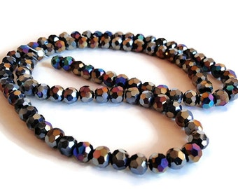 50 Glass Beads, jewelry making Supply, Half strand (50 beads) beautiful Faceted Round Glass Black Aurora Borealis Plated beads, 5mm