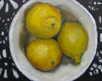 THREE LEMONS in a BOWL -  Giclee print from my original oil painting -  Art