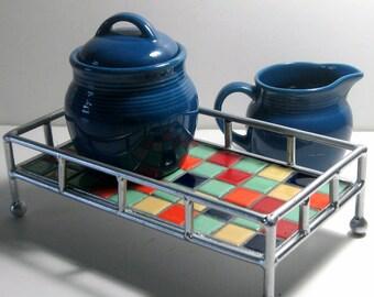 3pc Mosaic Tray Sugar Creamer Set, Retro Color Mosaic Tray with Sugar Creamer, Blue Sugar Creamer Mosaic Tray Set, Handmade Mosaic Tray Set