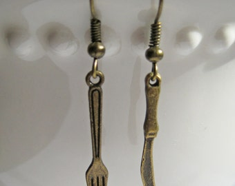 Miniature Fork & Knife Earrings, Chef Jewelry, Baker Gifts