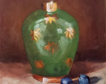"Small Original Oil Painting, Green Jar, Blueberries, Still LIfe, 6 x 6"" Unframed, Wall Art"