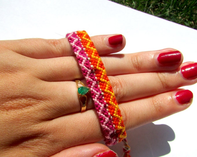 Handmade Friendship Bracelet-Pink, Orange, Grey