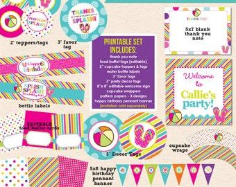 Flip Flop Splash Birthday Party - DIY Printable Party Pack- Instant Download PDF File