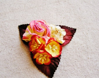 Cherry Buttercream, Strawberry, Cream Mixed bunch Vintage style Millinery Flower spray Bouquet- corsage, floral shabby chic-32514 OOAK