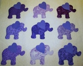 Set of 9 Purple Elephant Iron-on Sew-on Fabric Quilting Appliques...Make Your Own Quilt Blocks