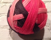 Roller derby self striping sock yarn  dyed to order just for you