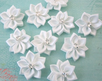 10 Pieces Of White Color Satin Ribbon Flowers