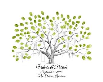 Personalized Savannah Live Oak Thumbprint Tree Wedding Guestbook Alternative / Fingerprint Tree / Family Tree / Anniversary