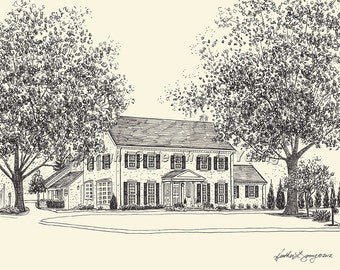 House Portrait Drawing - Custom Pen and Ink Architectural Drawing by Heather L. Young - 8x10 or 11x14 inches