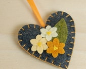 Heart Ornament • Decoration • Grey Wool Felt with Orange Flowers • Hand Embroidered