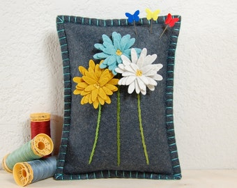 Daisy Pincushion • Blue, Gold & White Daisies on Grey Wool Felt • Hand Embroidered • Pin Pillow