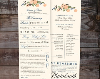 Wedding Programs,  Wedding Ceremony Programs, Wedding Ceremony Programs, Vintage Wedding program, Floral wedding program, watercolor