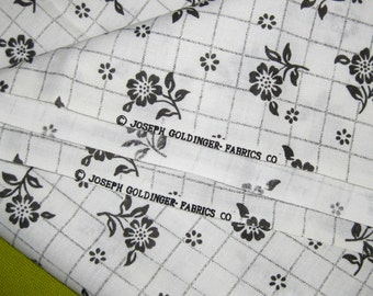 1970s Vintage Cotton Fabric - Black and White Floral - Joseph Goldinger