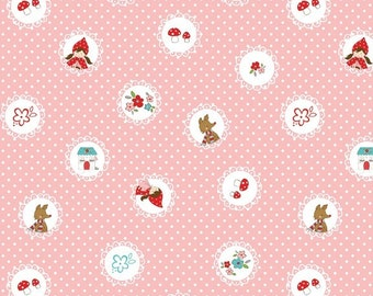 1.3m (1.4yd) Riley Blake • Little Red Riding Hood • pink scallops Cotton Fabric 001804