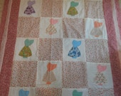 SUNBONNET SUE QUILT Top Plus Backing for little girl Vintage Squares  46 x 63 Reduced