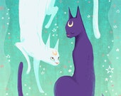 Celestial Cats 5x7 mini art print