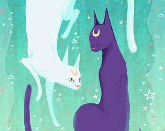 Celestial Cats 12x18  print poster print