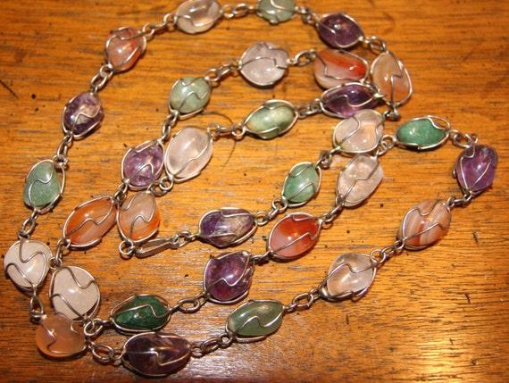 BOHEMIAN WRAP-SODY -- Vintage Long Necklace, Mexican Wire-Wrapped Semi Precious Pebbles: Agate, Amethyst, Quartz