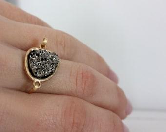 Druzy hematite ring 14kt gold filled - custom size