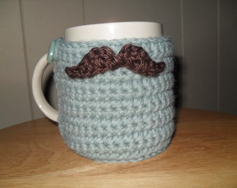 crochet mustache cozy cup cozy mug cozy in seafoam with chocolate brown mustache